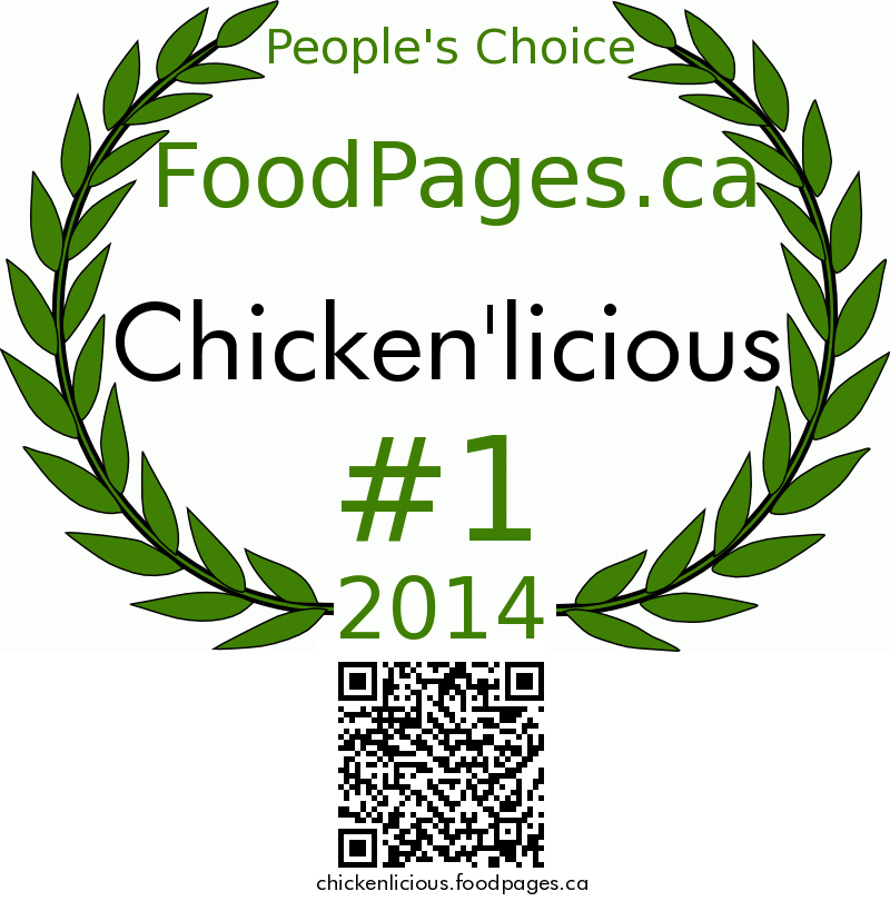 Chicken'licious FoodPages.ca 2014 Award Winner